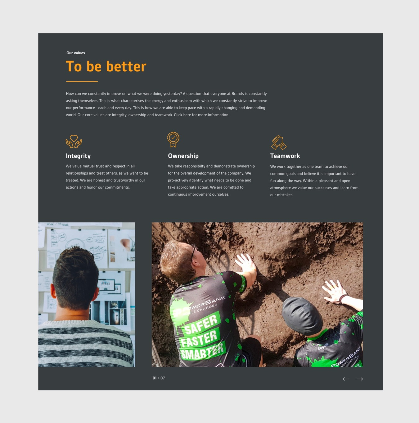 Blok op de website van Brands Group
