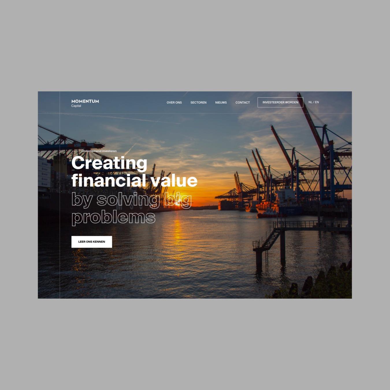 Corporate website als Momentum Capital