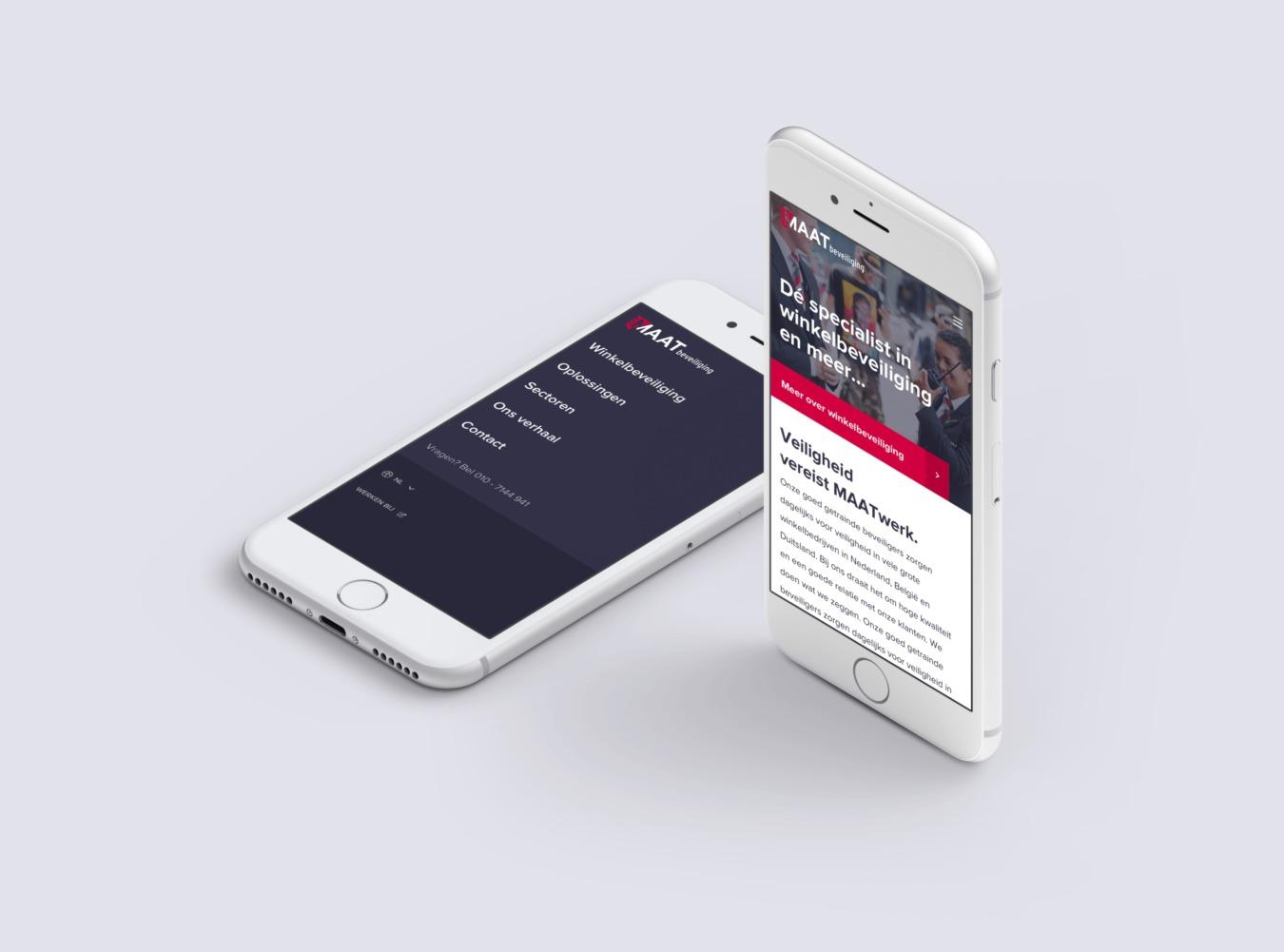 MAATbeveiliging website op mobiel