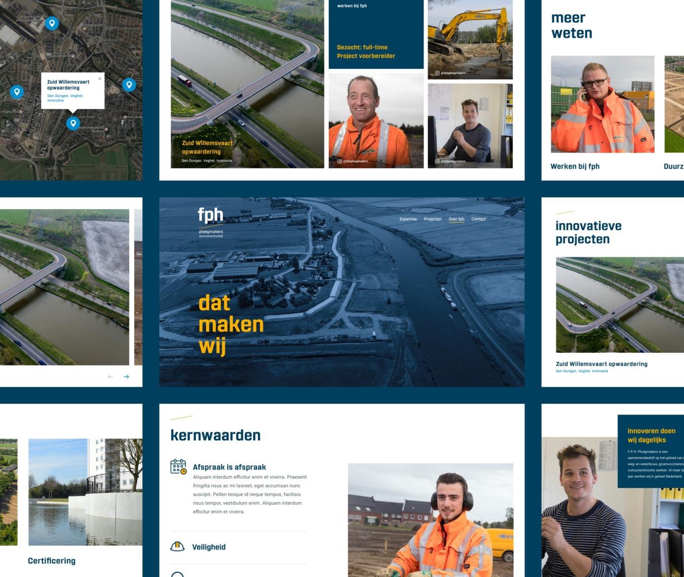 Design componenten voor corporate website van FPH Ploegmakers
