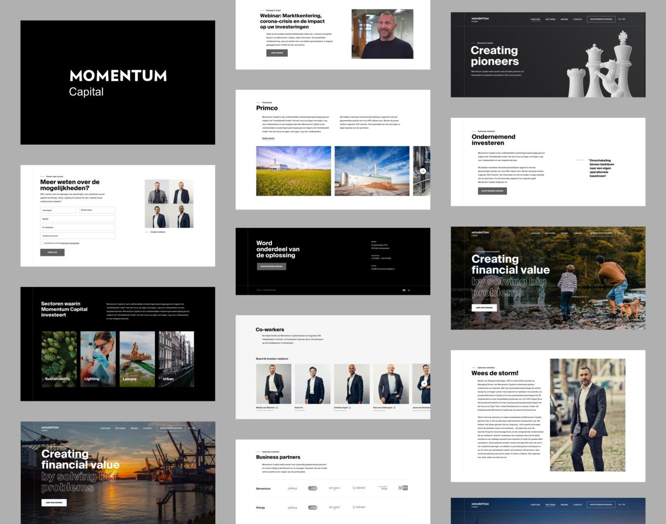 Websitecomponenten van Momentum Capital