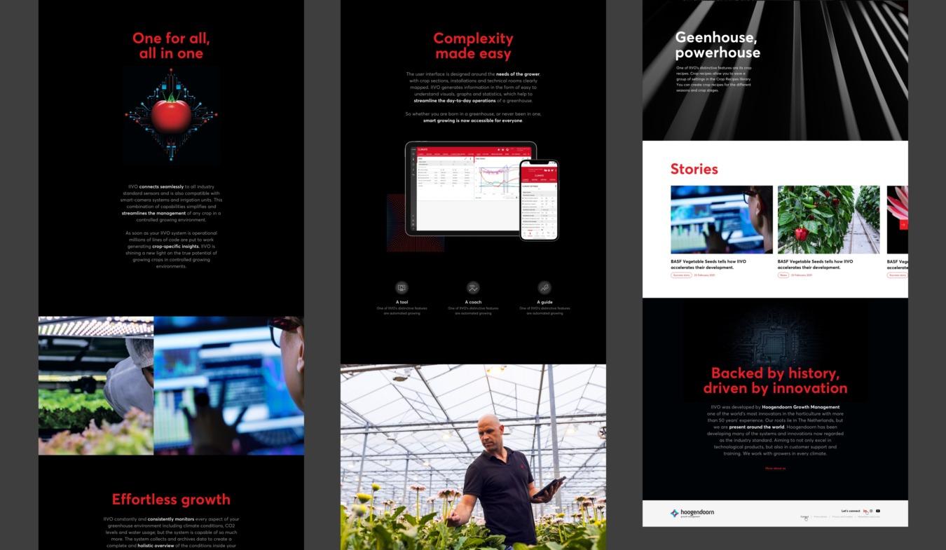 Diverse schermen van readysetgrow website
