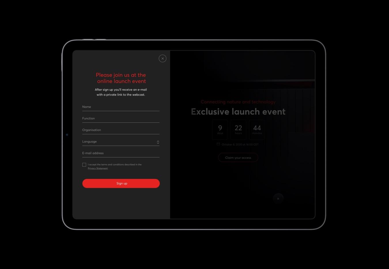 Readysetgrow website inschrijfformulier voor launch event