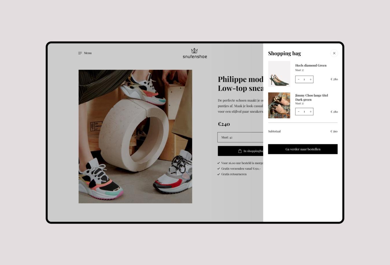 Snufenshoe webshop winkelwagen